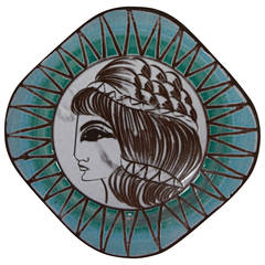 West German 1950s Greek Goddess Ceramic Plate