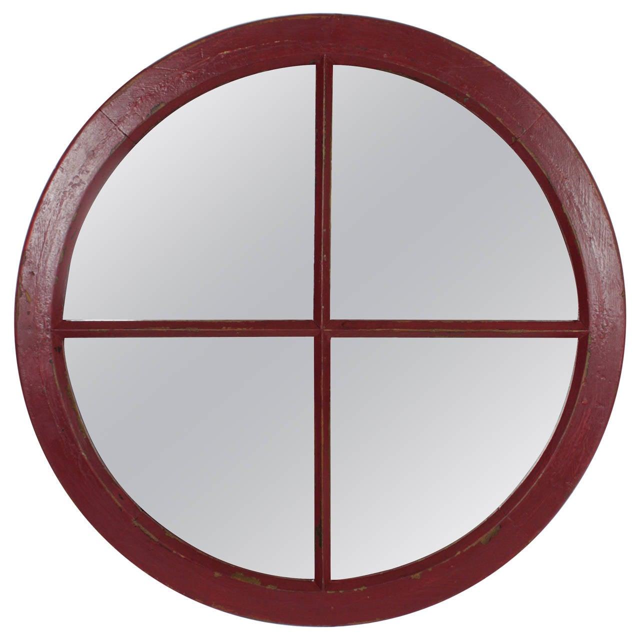 19th c. Industrial Circular Wood Windowframe as Mirror