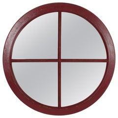 Spanish 19th Century Industrial Circular Red Painted Wood Windowframe as Mirror