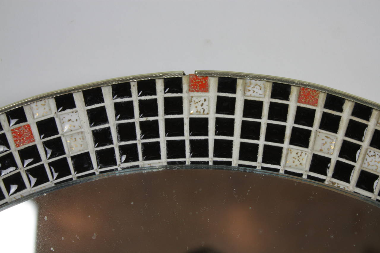 Mid Century Black and White Mosaic Circular Mirror For Sale 1