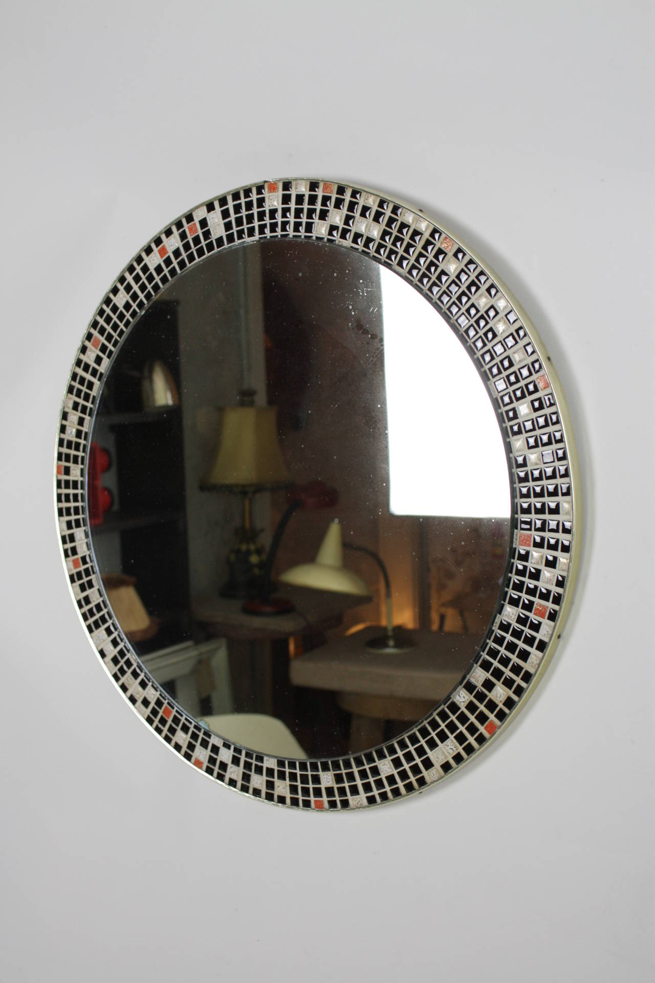 Mid-Century Modern Mid Century Black and White Mosaic Circular Mirror For Sale