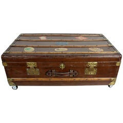 19 th c. French Steamer Trunk as Coffee Table