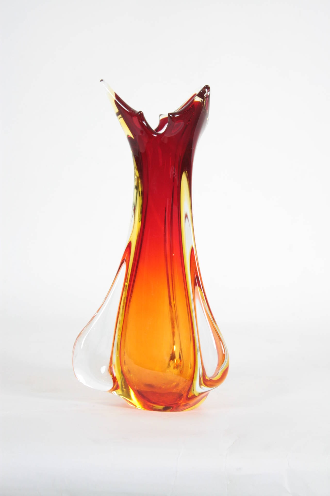 Archimede seguso red orange and yellow murano glass vase at 1stdibs mid century modern archimede seguso red orange and yellow murano glass vase for sale reviewsmspy