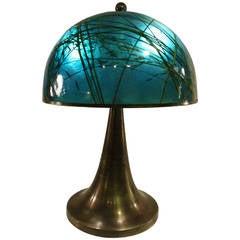 Large Italian Aqua Green Color Fungo Lamp