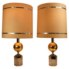 Pair of Brass and Silver Plated Italian Table Lamps