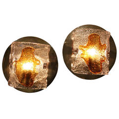 Pair of Clear and Amber Mazzega Murano Glass Wall Sconces