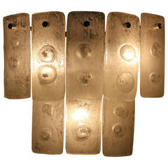 Mazzega White Murano Glass Wall Sconce