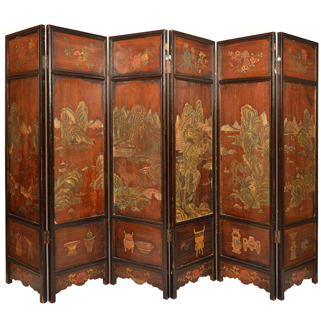 19th Century Chinese Qing Dynasty Coromandel Folding Screen 1