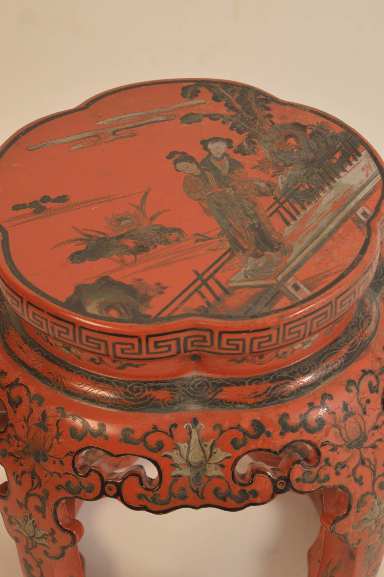 19th Century Chinese Qing Dynasty Red Lacquered Taboret