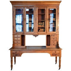 19th Century French Cherrywood Bibliotech Bookcase and Desk