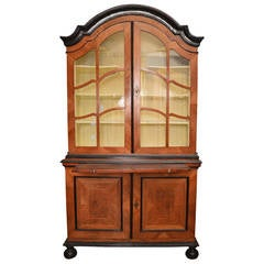 18th Century Swedish Walnut and Burled Elm Root Vitrine Cabinet With Glass Doors