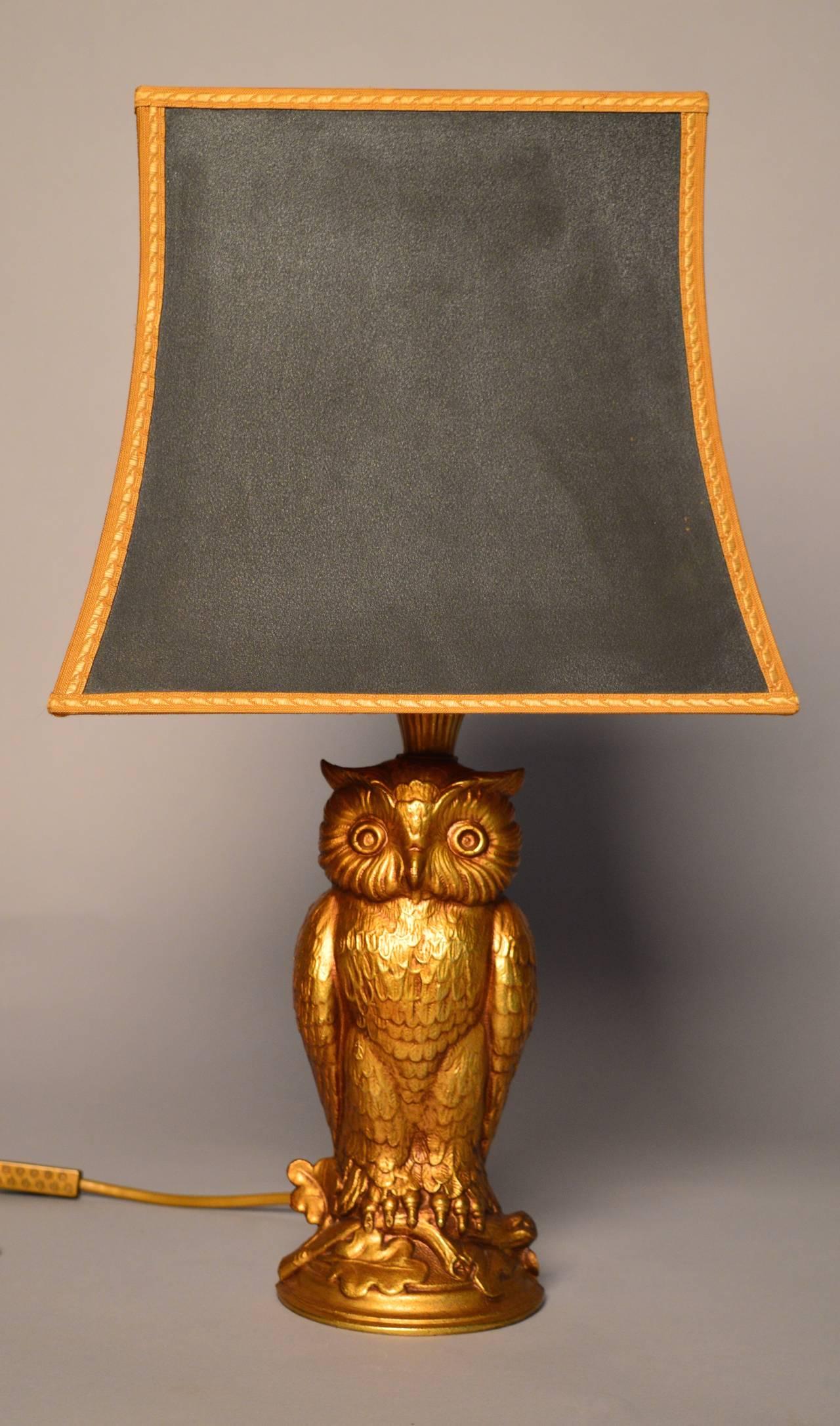 Cast Brass Owl Lamp Circa 1940 At 1stdibs