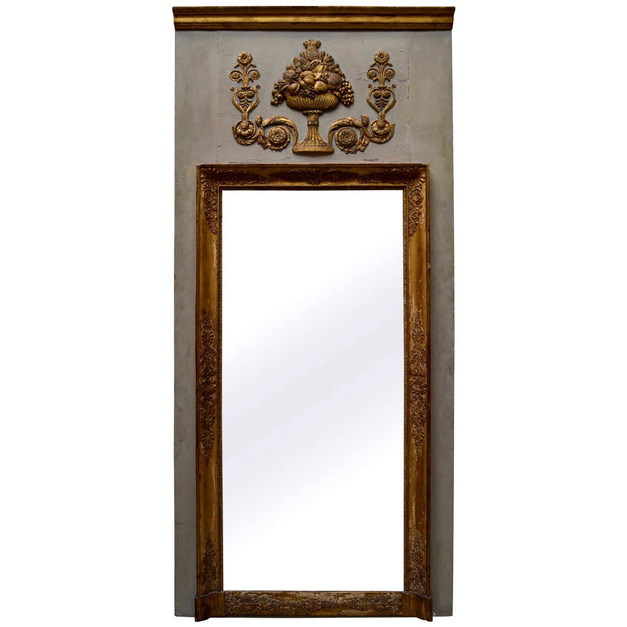 early 19th century french trumeau mirror at 1stdibs. Black Bedroom Furniture Sets. Home Design Ideas
