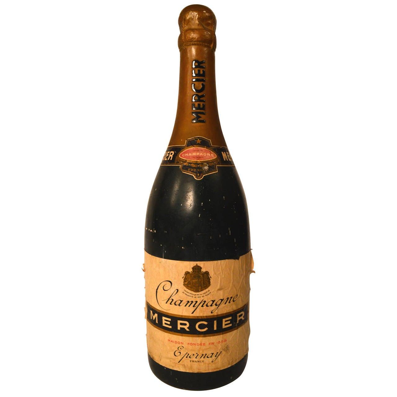 Moderne Large French plaster champagne bottle to advertise Mercier VP-08
