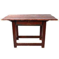 19th Century Swedish One-Drawer Table Retaining the Original Paint and Hardware