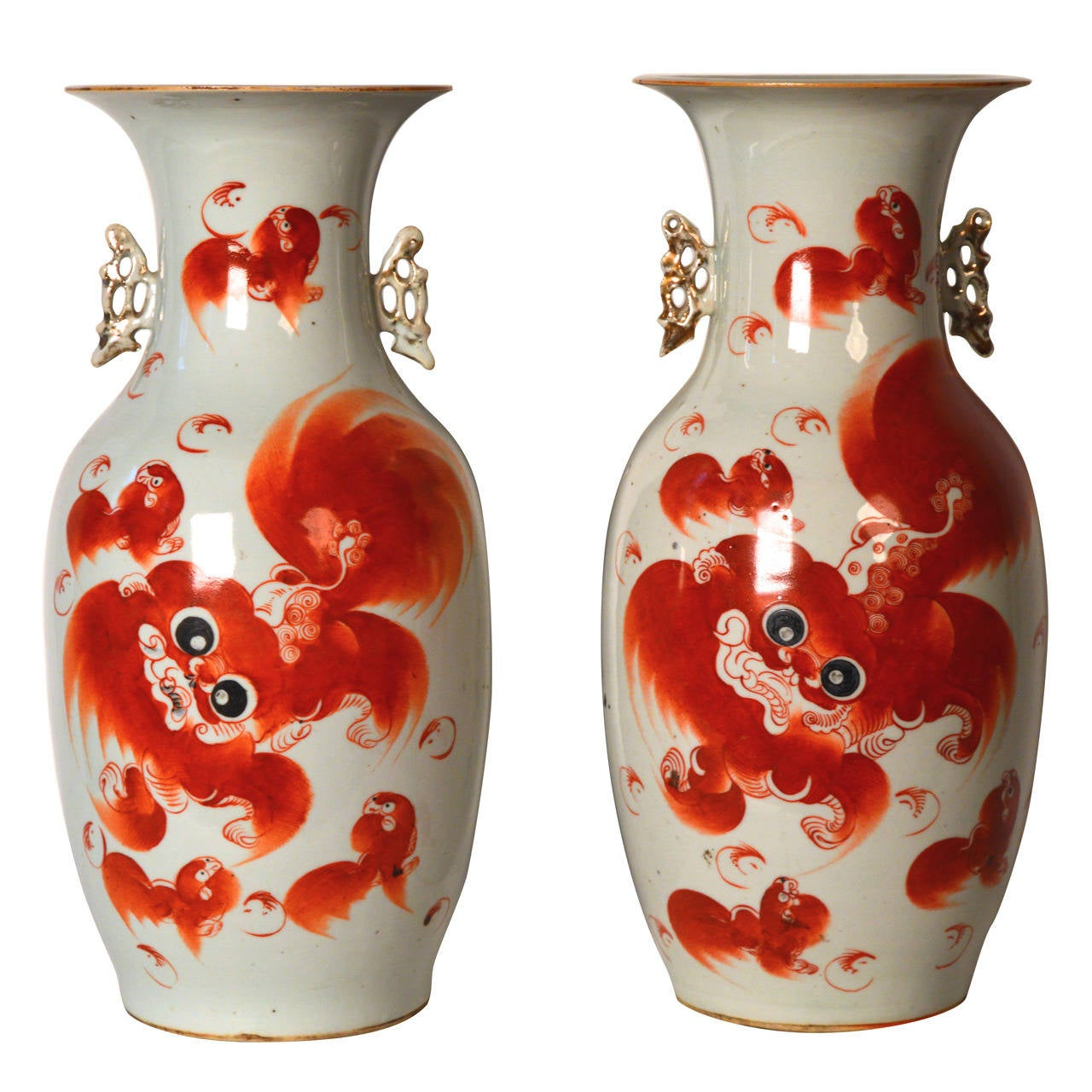 Two 19th c chinese porcelain qing vases decorated with orange foo two 19th c chinese porcelain qing vases decorated with orange foo dogs for sale reviewsmspy