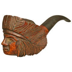 Native American Indian Chief Sculptural French Carving on a Pipe