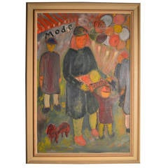 French Expressionist Painting of Lively Parisian Market Activity, circa 1930