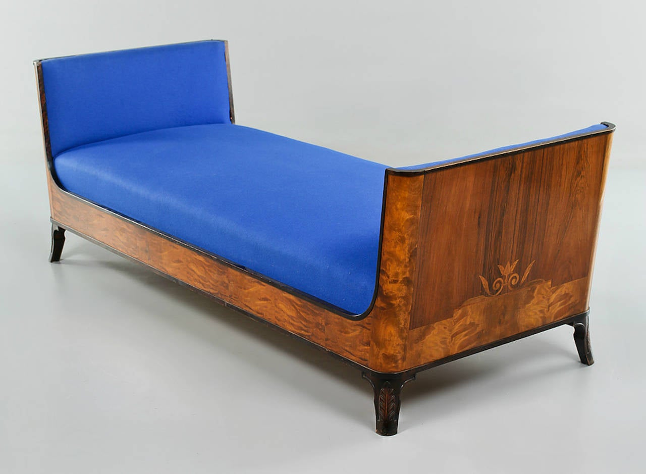 Swedish Grace Daybed by Eric Chambert, Upholstered in Blue Wool 2
