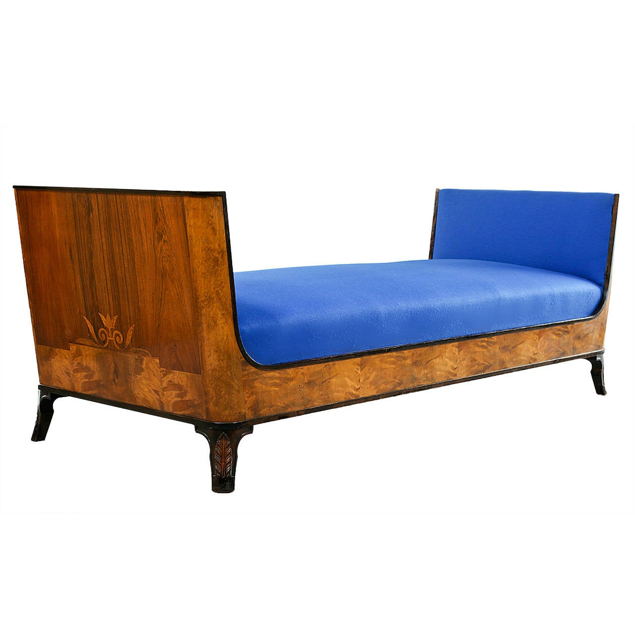 Swedish Grace Daybed by Eric Chambert, Upholstered in Blue Wool 1