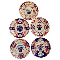 Collection of Five Antique Japanese Imari Plates