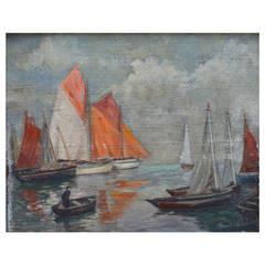 French 19th Century Harbor Scene Painting