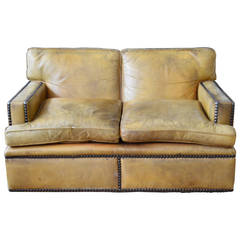 English Georgian Style Leather Settee with Large Brass Nailhead Edging