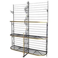 Large 19th Century French Iron and Brass Baker's Rack Stamped By The Maker