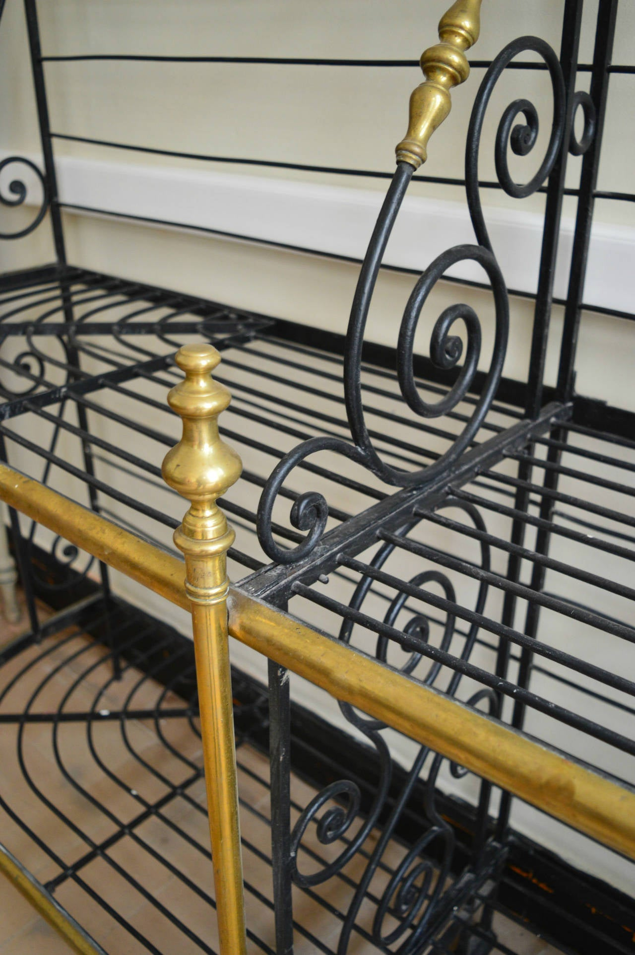 Large 19th Century French Iron And Brass Baker S Rack