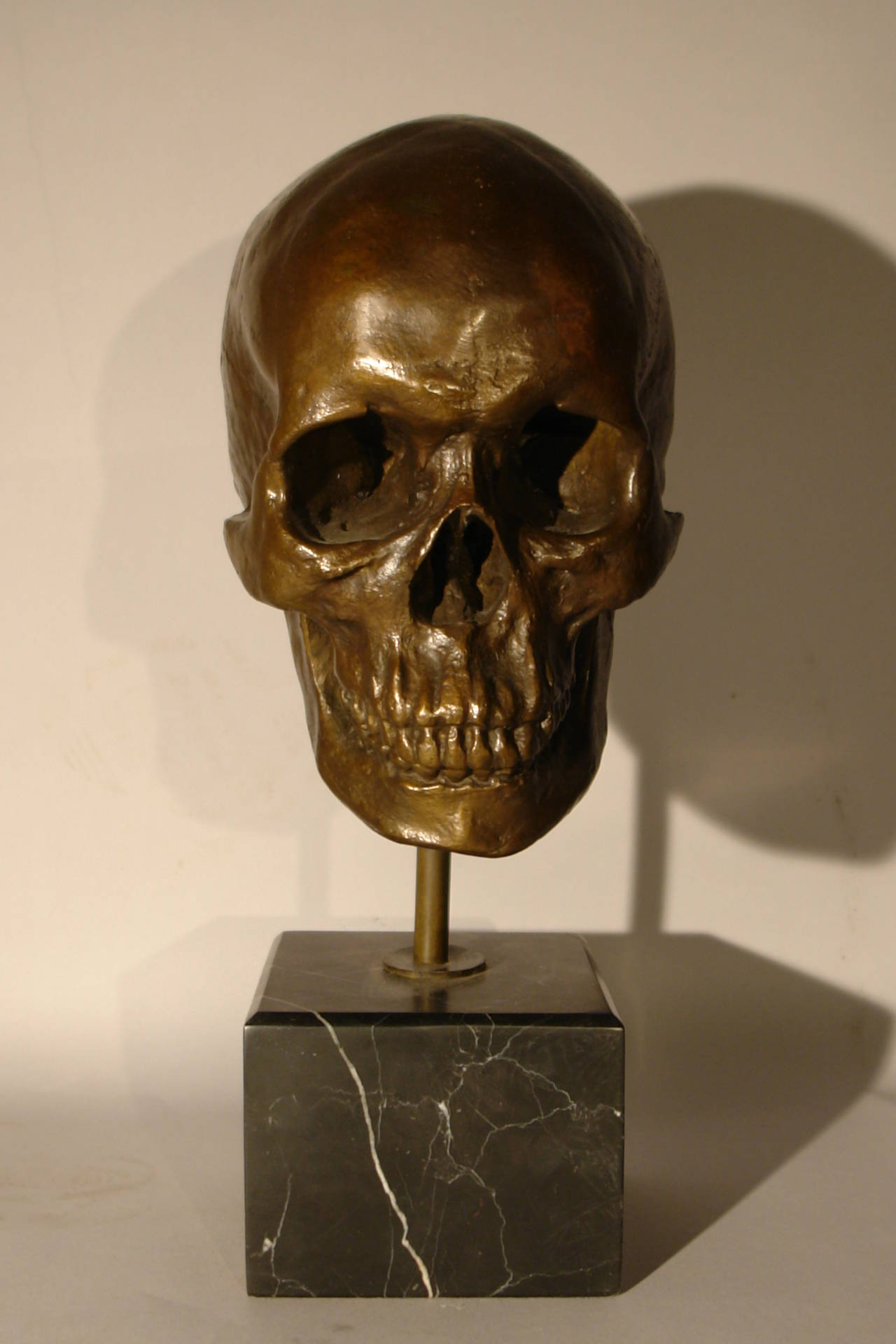 American vintage cast bronze skull on marble base signed ...