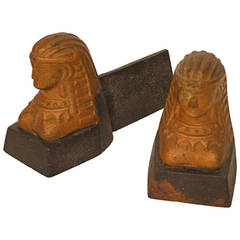 Pair of 19th Century French Andirons or Chenets in the Form of a Sphinx