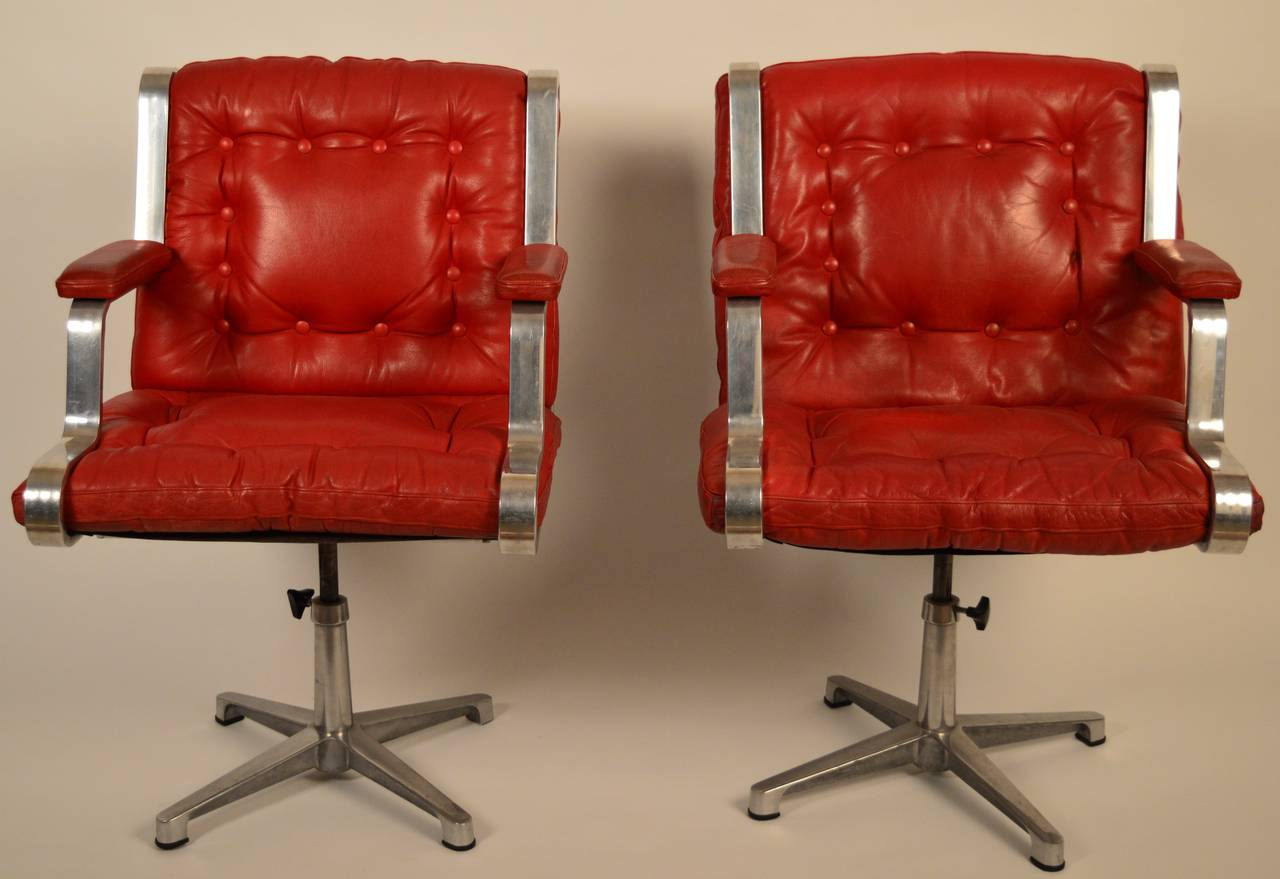 Vintage Swedish 1960u0027s Polished Cast Aluminum And Red Leather Swivel Chairs  3