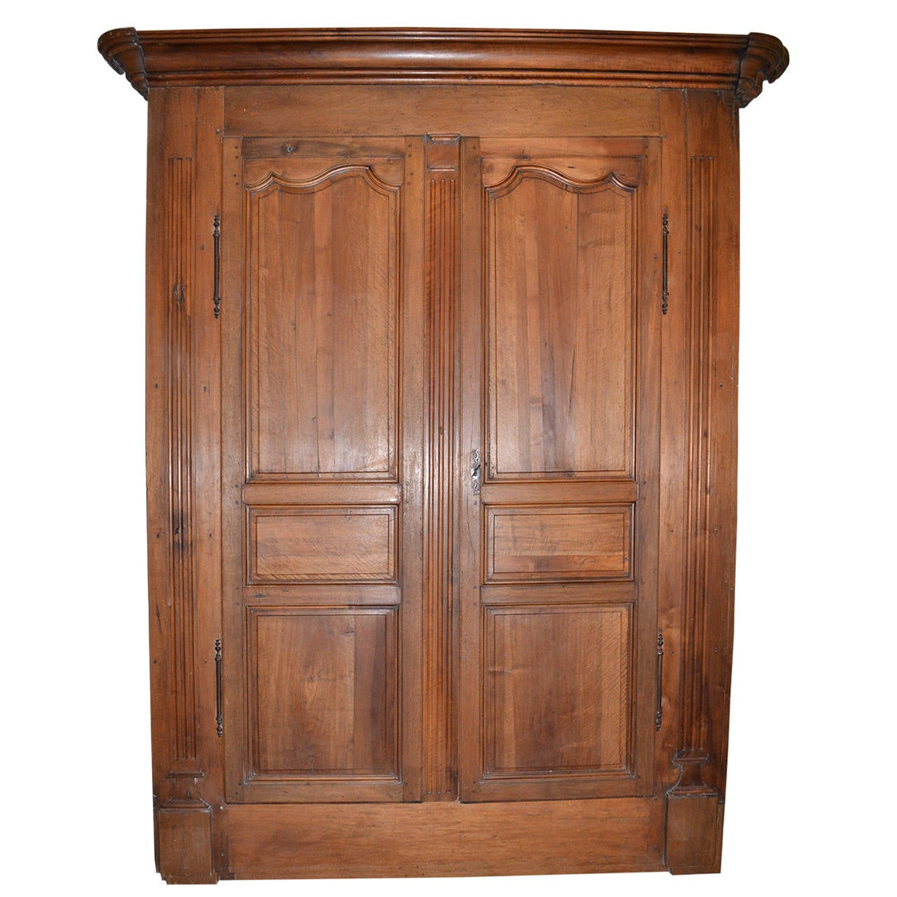 Antique Walnut French Armoire Doors with Original Frame, Crown & Hardware