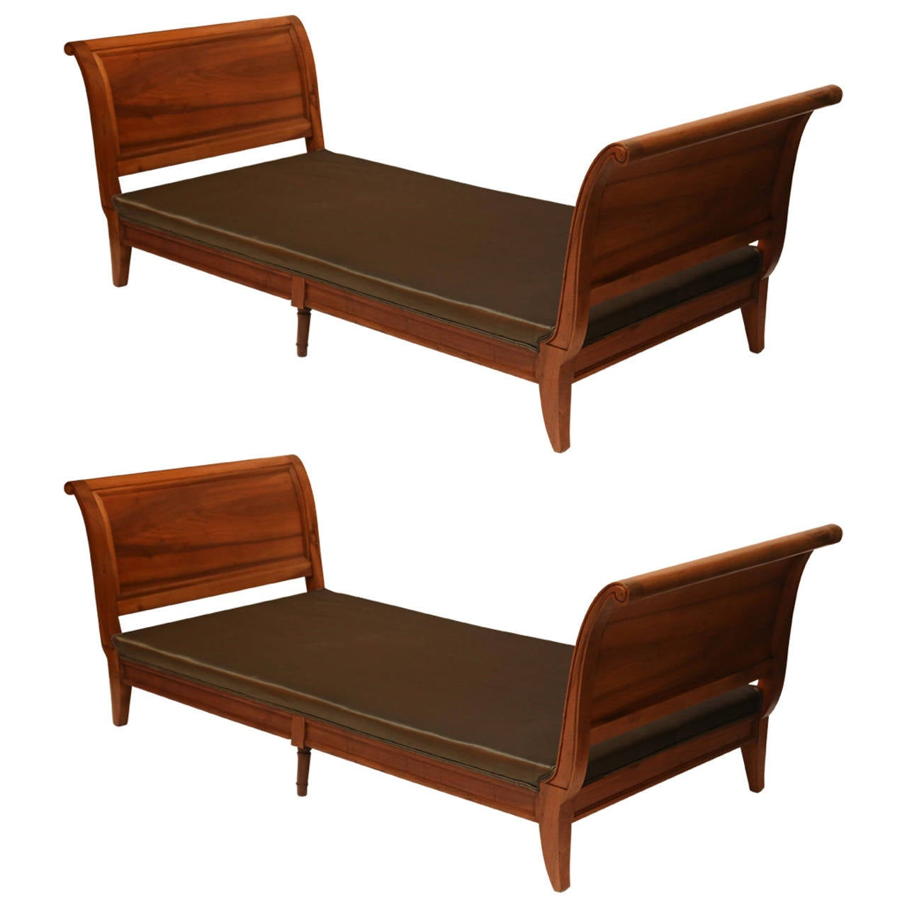 Pair of  French Walnut Directoire Daybeds