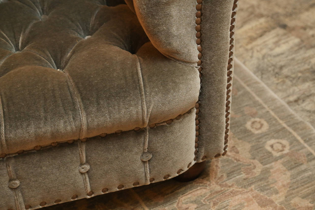 Other 19th Century English Chesterfield in Grey Mohair For Sale