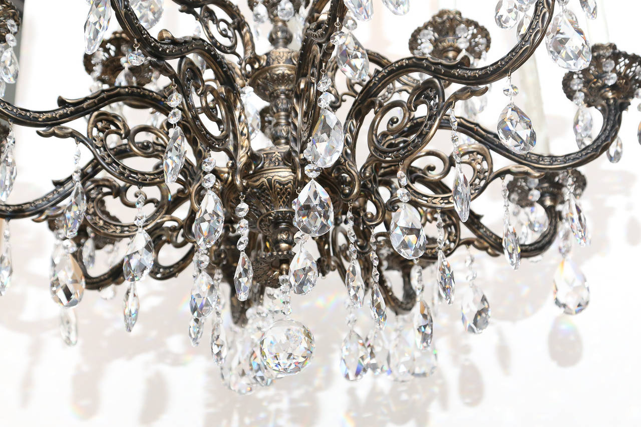 Bronze And Crystal Fifteen Light Chandelier At 1stdibs