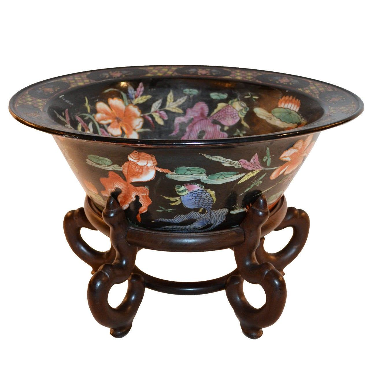 Black painted koi bowl at 1stdibs for Koi furniture
