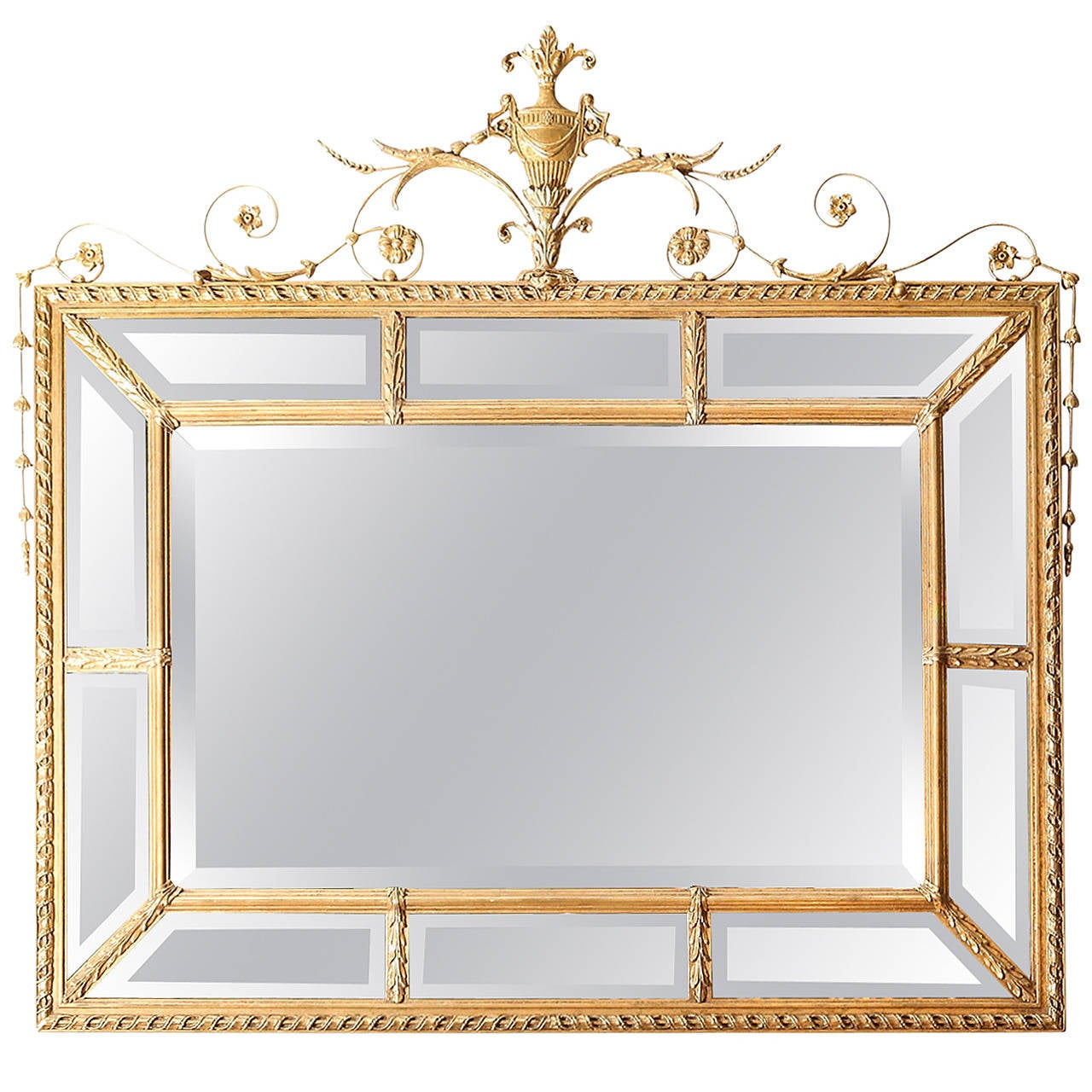 Vintage adam style mirror with beveled panels at 1stdibs for Vintage style mirrors