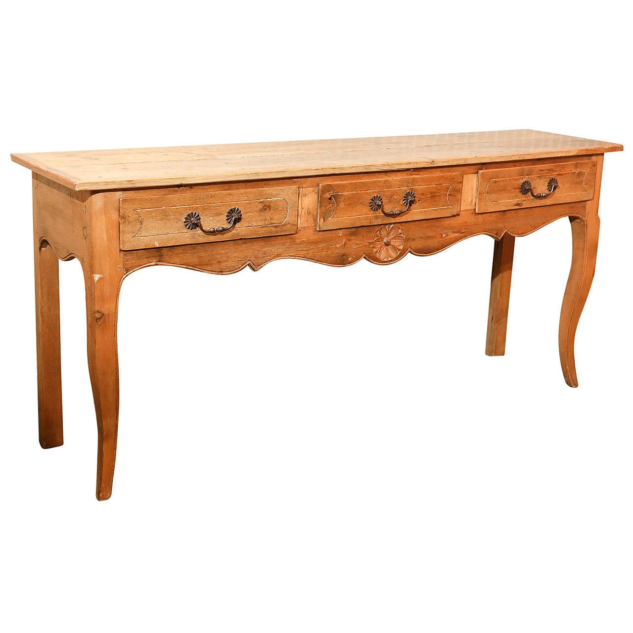 French country pine console table with three drawers for sale at 1stdibs - Pine sofa table with drawers ...