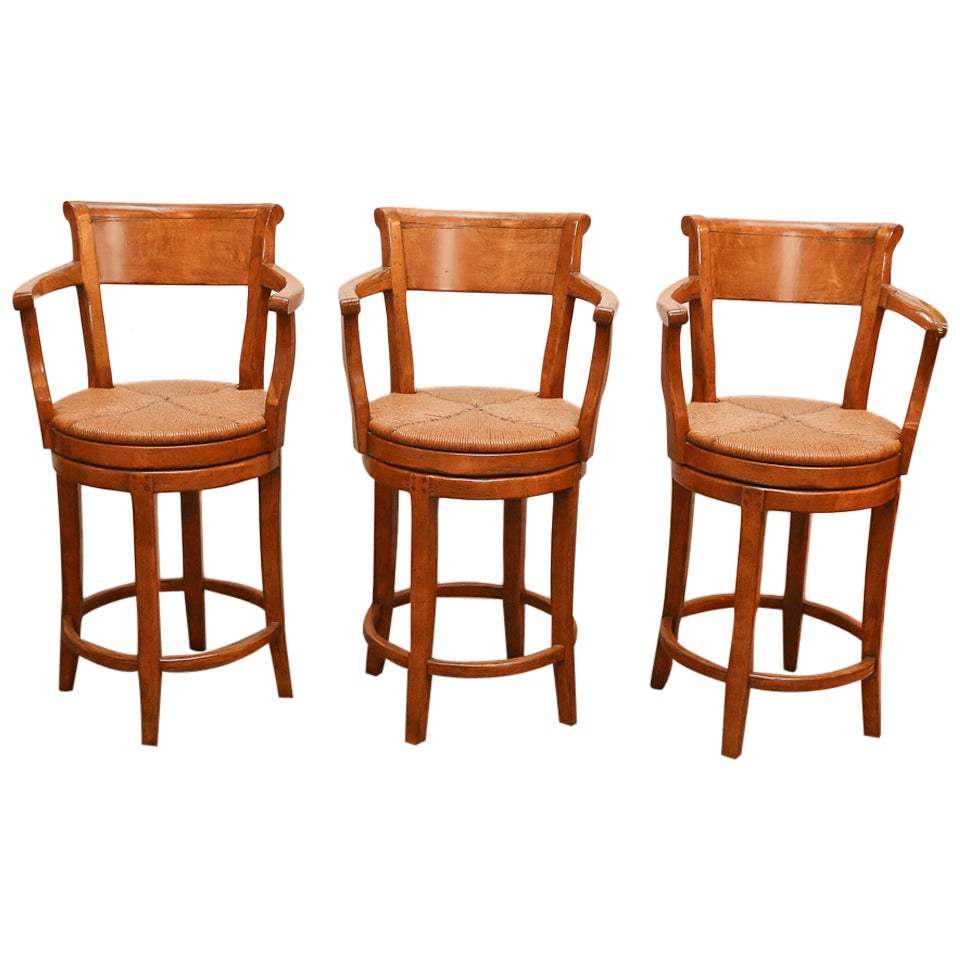 Set Of Three Sterling Collection Swivel Barstools For Sale