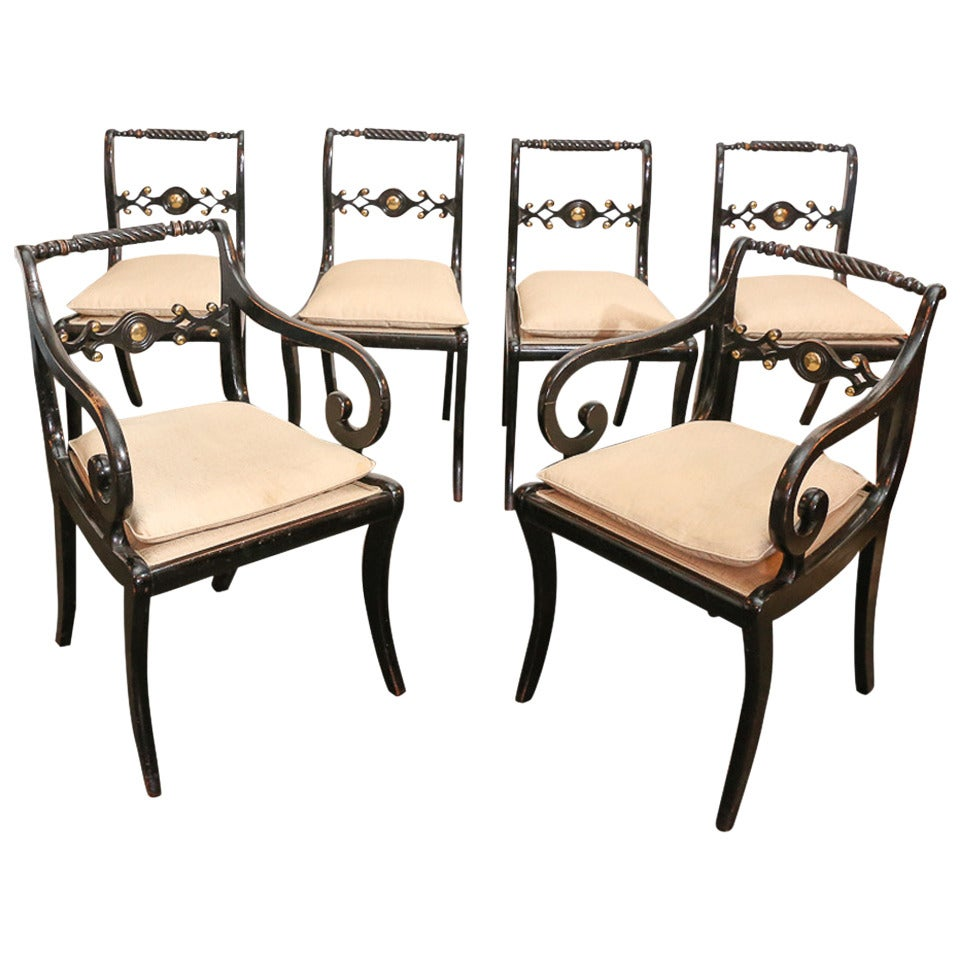 Set Of Six Regency Dining Chairs At 1stdibs