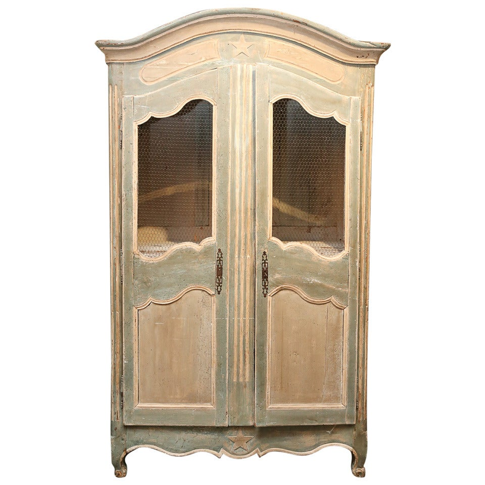 painted french armoire for sale at 1stdibs. Black Bedroom Furniture Sets. Home Design Ideas