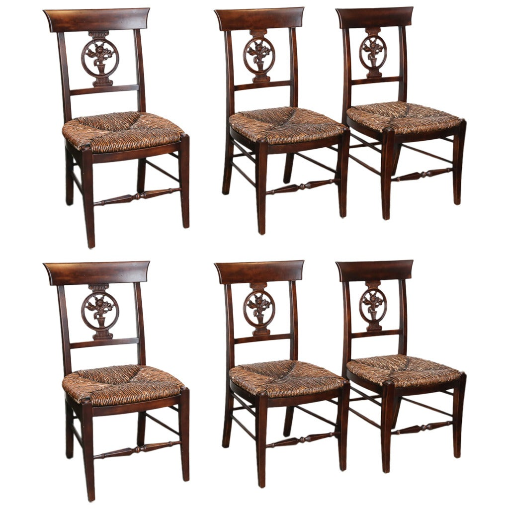Set of Six Rush Seat Chairs For Sale