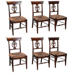 Oak Set of Six Country Dining Kitchen Chairs Rush Seated Edwardian ...
