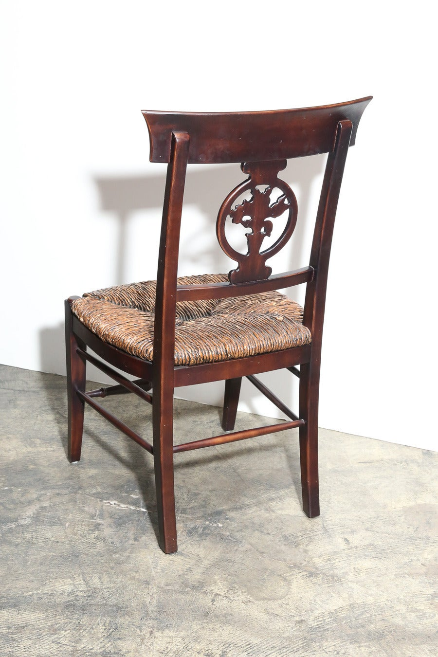 Carved Set of Six Rush Seat Chairs For Sale