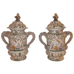 Pair of Moustier French Faience Lidded Urns