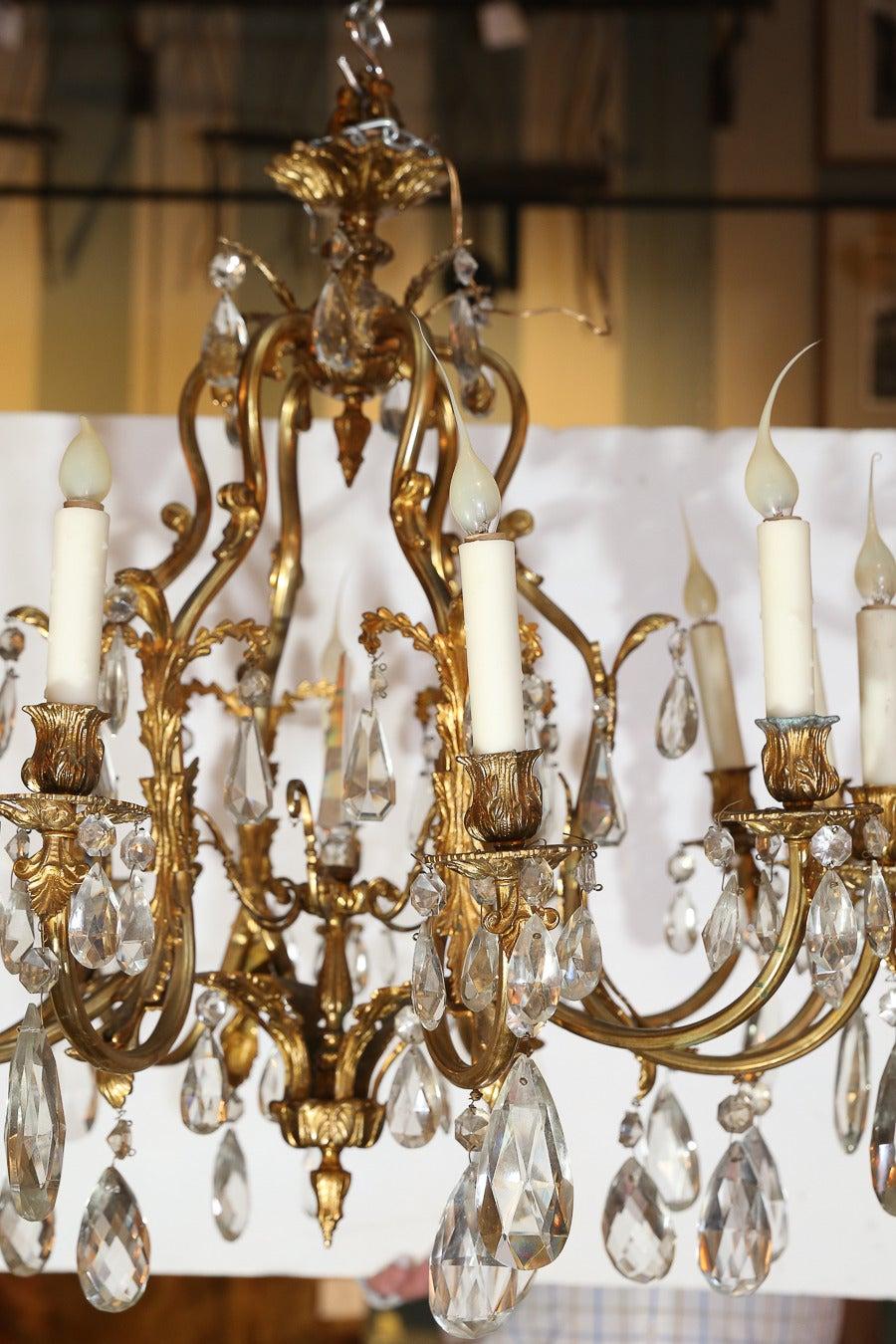 Twelve Light Bronze Dore And Crystal Chandelier At 1stdibs