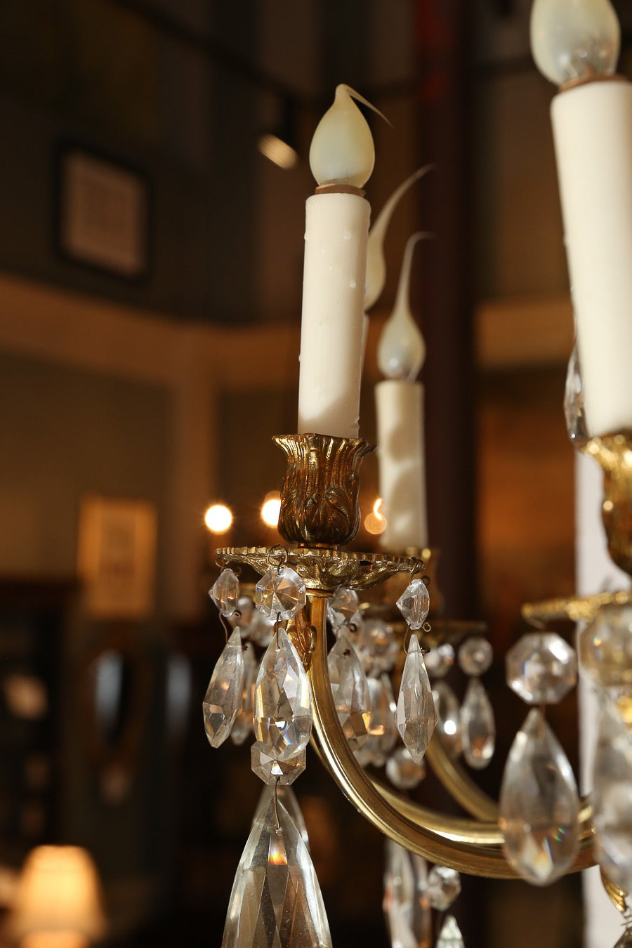 Twelve Light Bronze Dore And Crystal Chandelier At 1stdibs