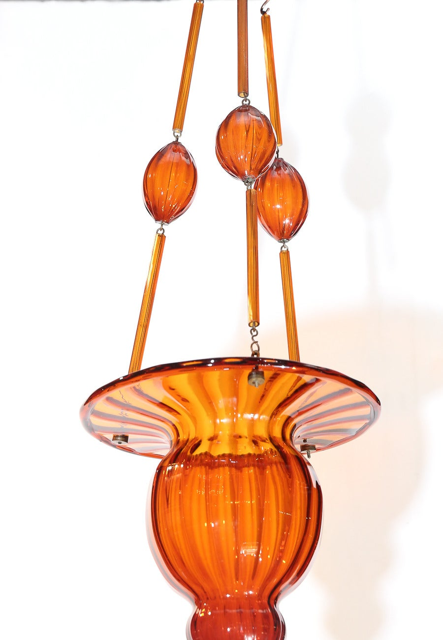 Murano Amber Glass Small Chandelier For Sale At 1stdibs