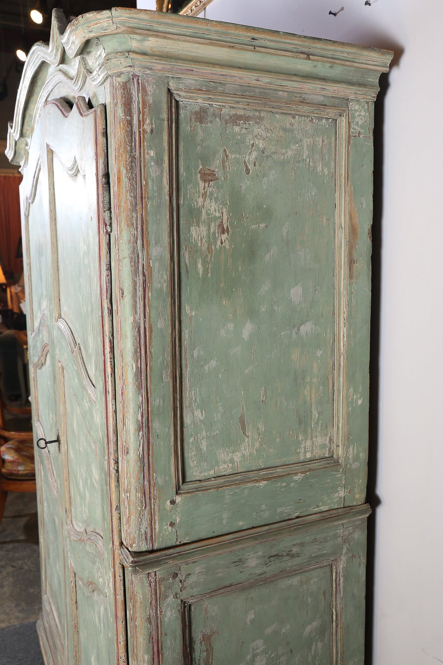 Antique Distressed Painted Italian Armoire For Sale at 1stdibs